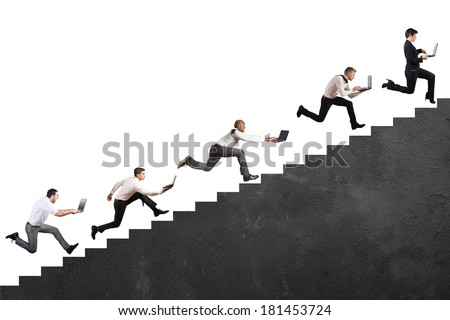 Concept of challenge of technology with running businessman with laptop