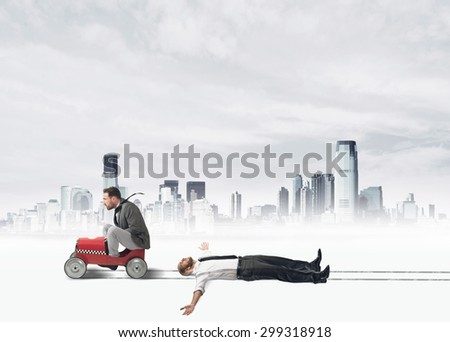Concept of challenge with a ruthless businessman that  invests a colleague - stock photo