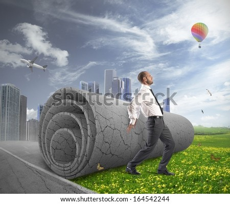 Concept of Change gray of pollution with green field - stock photo