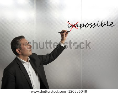 Concept of change impossible to possible - stock photo