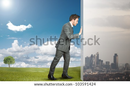 Concept of change pollution with green environment - stock photo