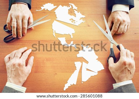 Concept of change the political conditions on American continent - stock photo