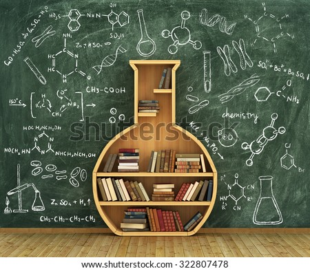 Concept of chemistry. Bookshelf full of books in form of test-tube with chemistry draw on whiteboard. - stock photo
