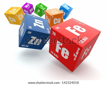 Concept of chemistry. Periodic table of element on cubes 3d - stock photo
