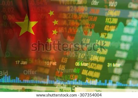 concept of china stock market ticker  - stock photo