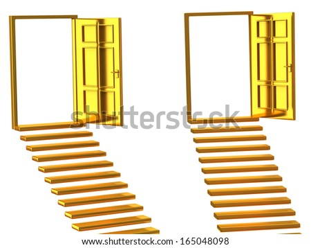 Concept of choice.Golden stairs and open doors. - stock photo