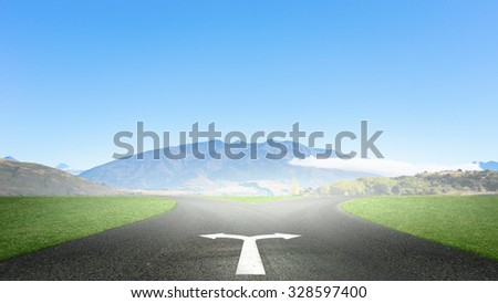 Concept of choice with crossroads spliting in two ways - stock photo