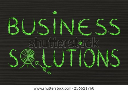 concept of choosing the best business solution, target illustration - stock photo