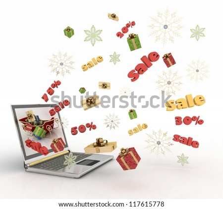 Concept of Christmas online shopping. 3d illustration. - stock photo