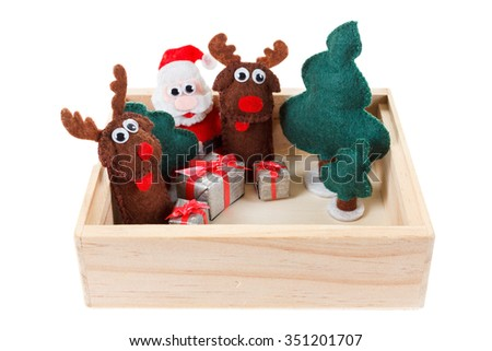 Concept of Christmas toys in a wooden box on a white background. Closeup, isolated on white background