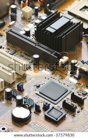 Concept of cityscape. Computer part: circuit board close-up. - stock photo