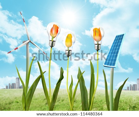 Concept of clean energy with solar panel and wind energy - stock photo