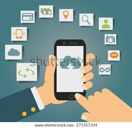 concept of cloud services on mobile phone such as storage, computing, search, photo album, data exchange. With colorful icons or web buttons around mobile device.