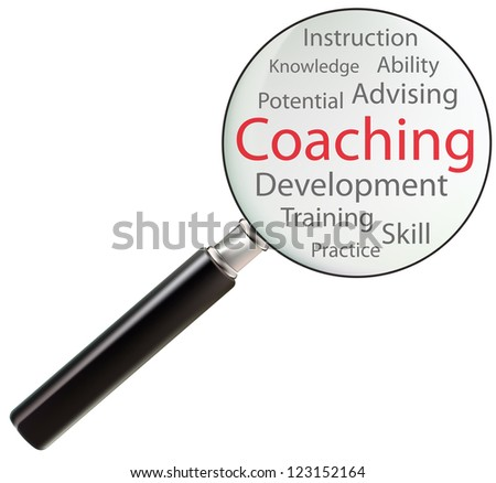 Concept of coaching consists of skill, ability, advising, practice, training, knowledge, potential, instruction and development - stock photo