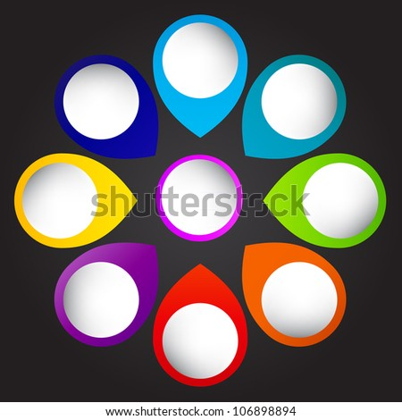 Concept of colorful circular banners with arrows for different business design.  illustration Raster version