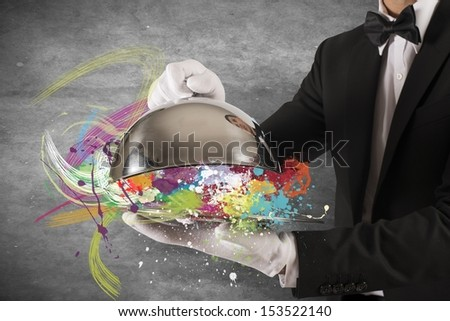 Concept of colorful Creative First Class Service - stock photo