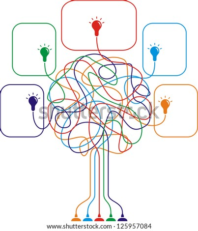 Concept of colorful tree with bulbs for different business design. Raster version, vector file available in portfolio. - stock photo