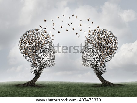 Concept of communication and communicating a message as two head shaped trees with birds flying as a metaphor for teamwork and business or personal relationship with 3D illustration elements. - stock photo