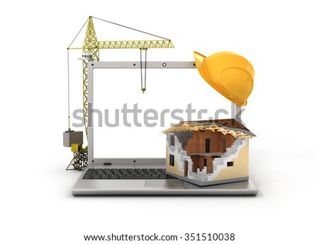 Concept of computer design. House in process of building with tower crane on the laptop with white blank screen and protective helmet. - stock photo