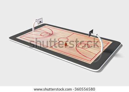 Concept of computer games in basketball at digital tablet - stock photo