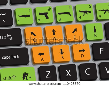 Concept of computer keyboard designed for playing shooting games. - stock photo