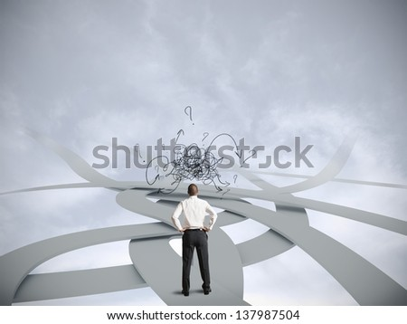 Concept of confused businessman with multiple opportunities - stock photo