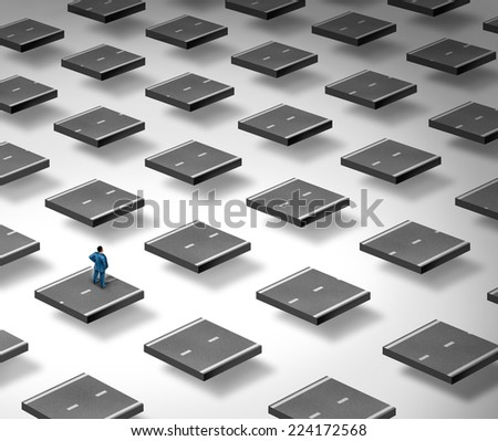 Concept of confusion as a business person standing on a three dimensional broken road as a symbol of strategy challenge and thinking of problem solving solutions. - stock photo