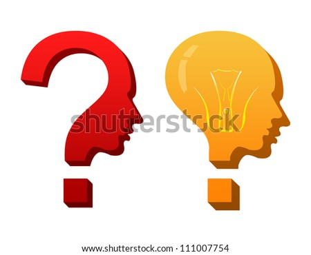 Concept of Confusion With Question and Answer Theme Isolated On White Background - stock photo