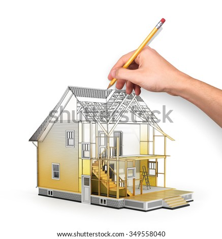 Concept of construction and architect design. 3d render of house in building process with tree. Hand drawing sketch. We see constituents of roof frame and insulation layer. - stock photo