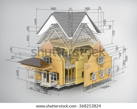 Concept of construction. We see constituents of roof frame and insulation layer with dimensions. - stock photo
