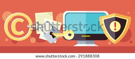 Concept of Copyright protection of intellectual property and data in Internet and violation of the law. Law illustration, key in the keyhole, computer. Banners, promotion, presentation. Raster version - stock photo