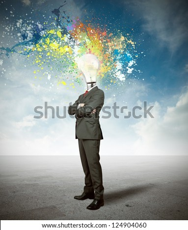 Concept of creativite idea of a businessman - stock photo