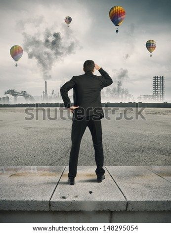 Concept of crisis and future in the business - stock photo
