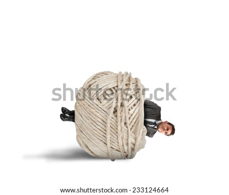 Concept of crisis and problem with trapped businessman - stock photo