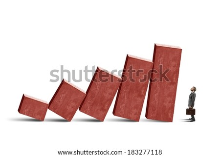 Concept of crisis with unstable statistic bars - stock photo