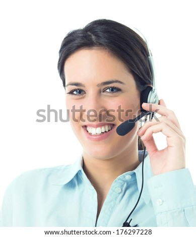 Concept of customer service  with beautiful woman on call center - stock photo