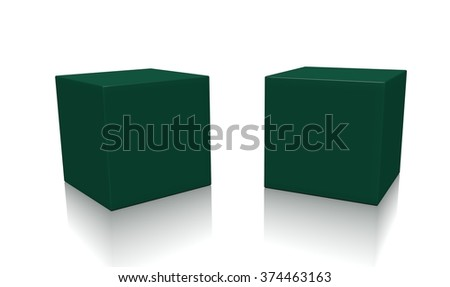 Concept of dark green boxes isolated on a white background.