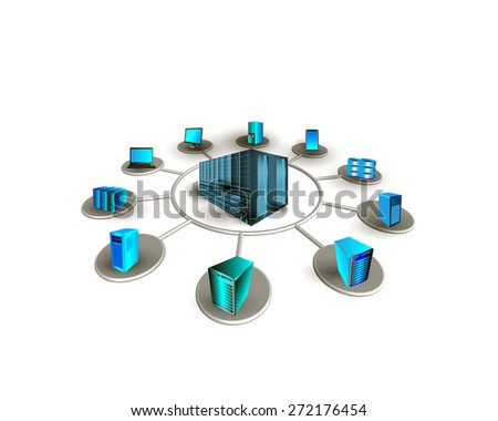 Concept of Data center connectivity. This illustrates different enterprise systems connecting to a Datacenter for accessing different services includes ERP,CRM,web, distributed and mobile applications - stock photo
