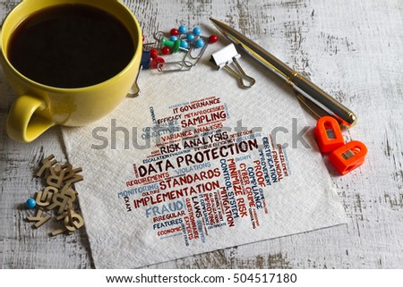concept of data protection word cloud on a napkin with pen and cup of coffee