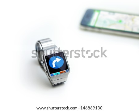 concept of data watch, so called smart watch or iwatch. connects via bluetooth to smartphone - stock photo