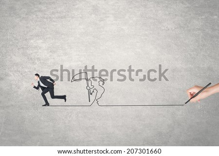 Concept of deadline, businessman running and a grim reaper after him. - stock photo