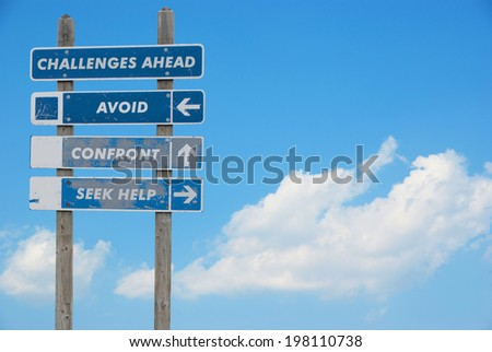 Concept of decision with signpost in the sky warning challenges ahead and three options