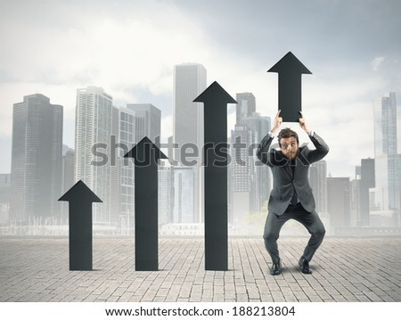 Concept of determination with businessman that helps statistic - stock photo