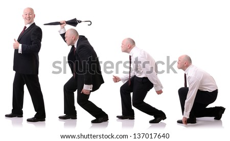 concept of development of a businessman survival of the fittest isolated on white - stock photo