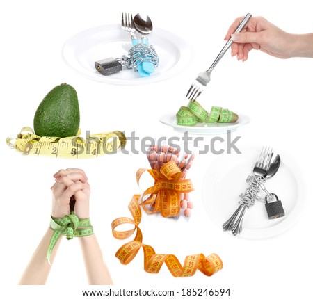 Concept of dieting isolated on white - stock photo
