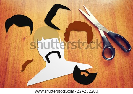 Concept of different haircuts - stock photo