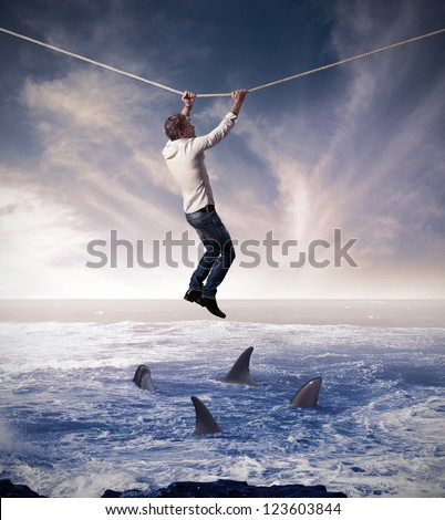 Concept of difficult and risk in business affairs - stock photo