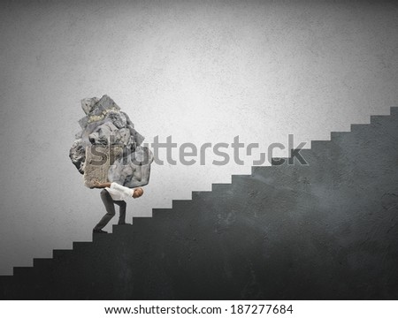 Concept of difficult career in business affair - stock photo