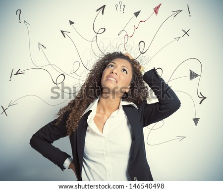 Concept of difficult choices in business - stock photo