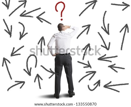 Concept of difficult choices of a businessman - stock photo